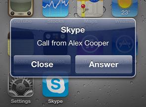 Skype för iPhone, inkommande samtal