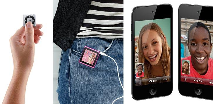 Ipod shuffle, Nano och Touch, anno 2010. Foto: Apple Inc
