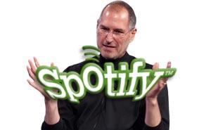 Apple och Spotify har inte alltid varit såta vänner. Illustration: Media.nu