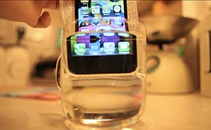 Vakuum-förpackad Iphone 4. Bild från video