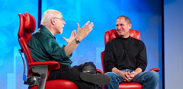 Walt Mossberg intervjuar Apples vd Steve Jobs. Foto: Joi Ito/flickr